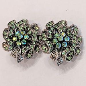 Jewelry - Vintage Green Rhinestone Clip On Earrings
